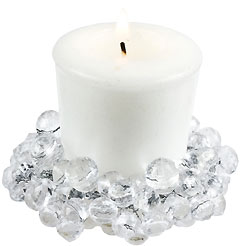 crystal clear beaded candle rings