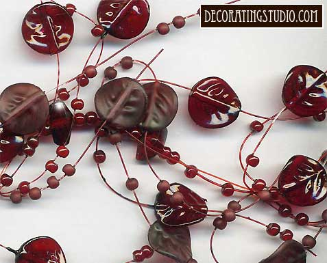 claret leaves beaded garland