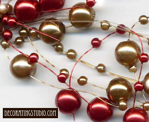 gold and burgundy beaded garland pearl
