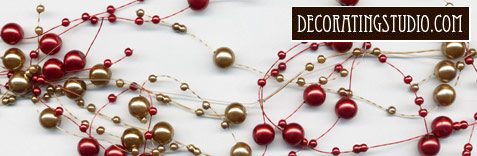 gold and burgundy table decor garland