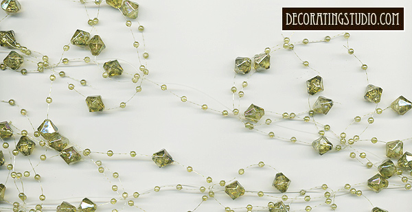 green beaded garland table decor