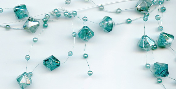 turquoise iridescent beaded garland