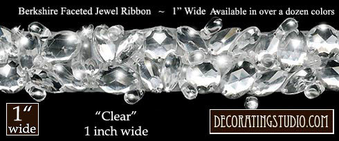 "Clear 1""  Berkshire Embellished Jeweled Trim - Product Image"