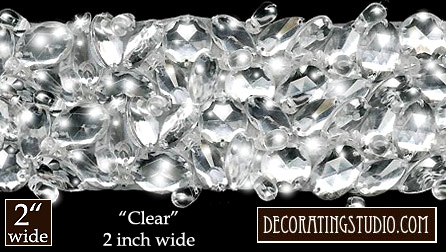 """Clear"" 2"" Wide Berkshire Embellished Jeweled Trim - Product Image"