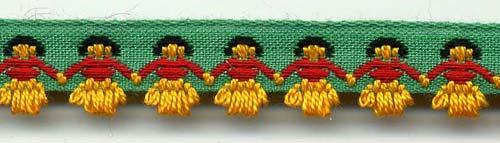 hula dancer green and gold ribbon