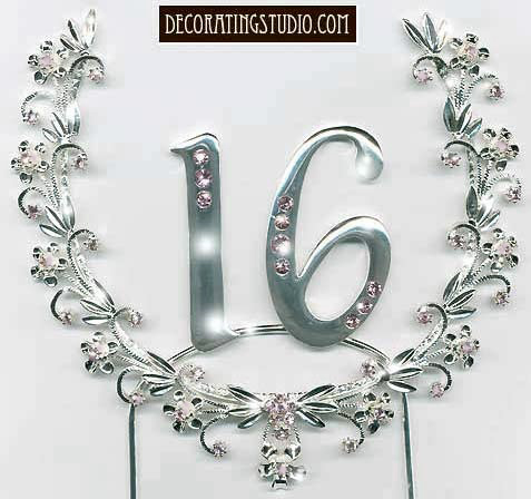 Sixteenth Birthday Cake Topper Wreath - Product Image