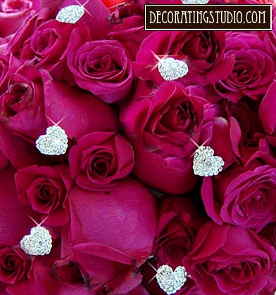 rhinestone heart bouquet accents