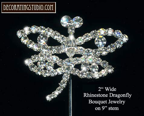 Crystal Large Dragonfly Floral & Cake Stem(s) - Product Image