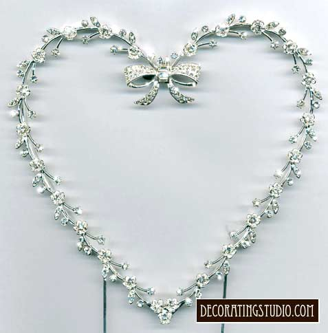 Crystal Heart Frame Cake Topper - Product Image