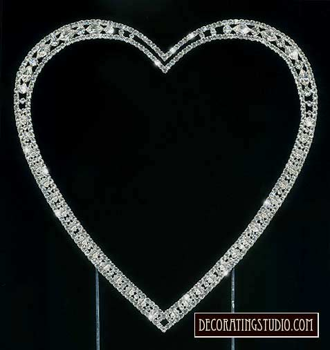 Crystal Marquise Cut Single Heart Cake Topper - Product Image