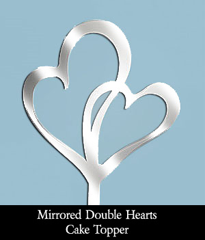 Mirrored Double Hearts Wedding Cake Topper