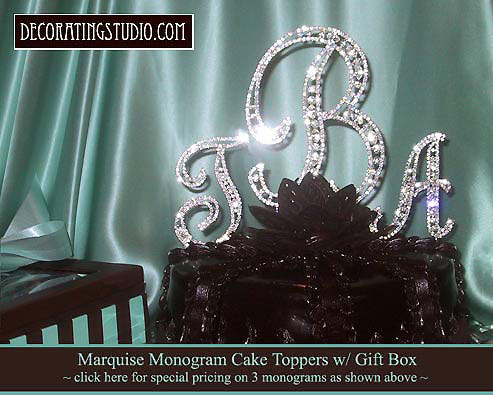 cheap monogram wedding cake toppers set of 3 marquise cut rhinestone monogram cake toppers 12516