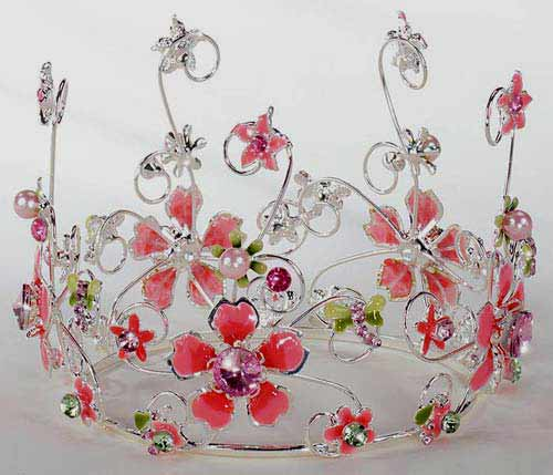 Pink Jeweled & Floral Cake Crown Topper