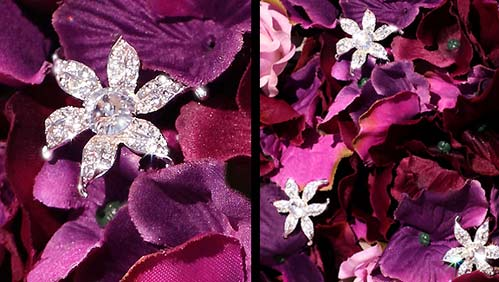 Bel Aire Stylized Rhinestone Flower Bouquet Accents (Set of 3) - Product Image