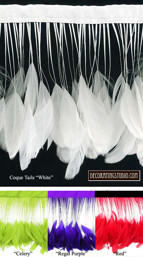rooster coque tails stripped feather trim