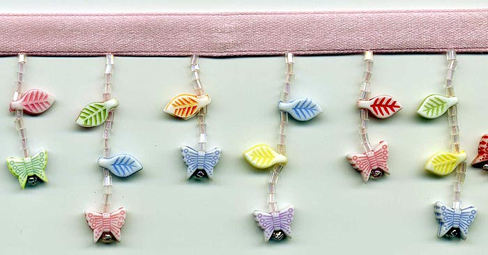pastel butterflies beaded fringe trim