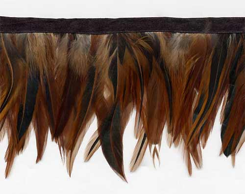 Auburn Brown Feather Fringe Trim