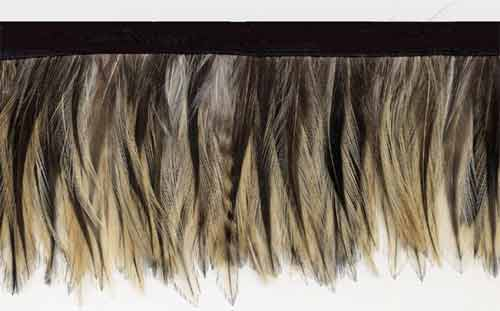French Beige Petite Feather Trim Fringe