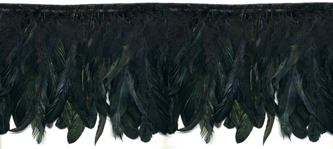black iridescent feather fringe