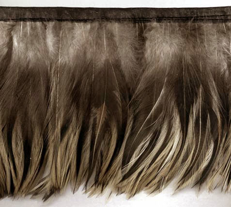 badger feather trim french beige