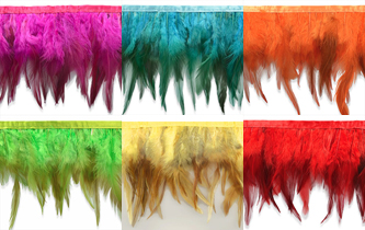 brightly colored feather fringe