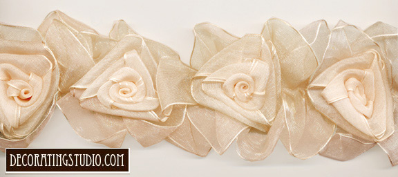 warm ivory organza flower trim