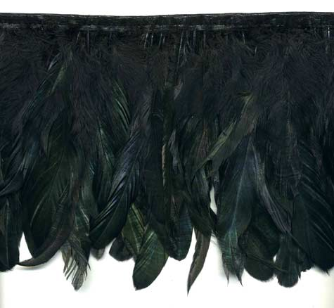 Black Iridescent Feather Trim