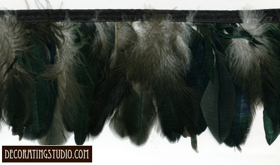 green iridescent smoke feather fringe trim