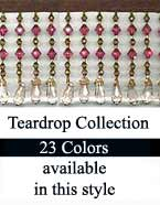 Teardrop Beaded Trim Fringe in 23 Tear Drop Bead Colors