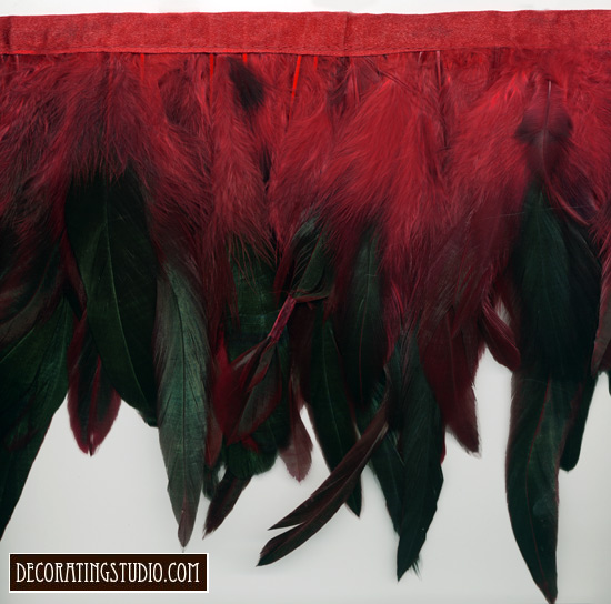 iridescent dark green & red feather fringe