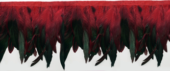iridescent green & red feather fringe