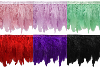 las vegas feather fringe in white, black, red, purple and pink