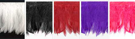 las vegas feather trim in white, black, red, purple and pink