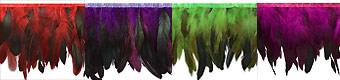 long feather fringe red fuchsia, green and plum