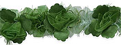 organza flower trim dark green