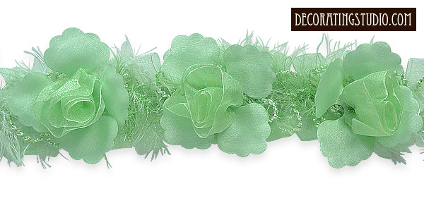 organza flower trim mint