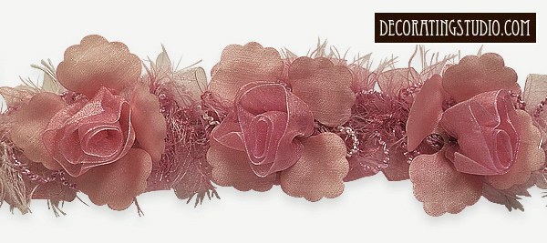 organza flower trim rose