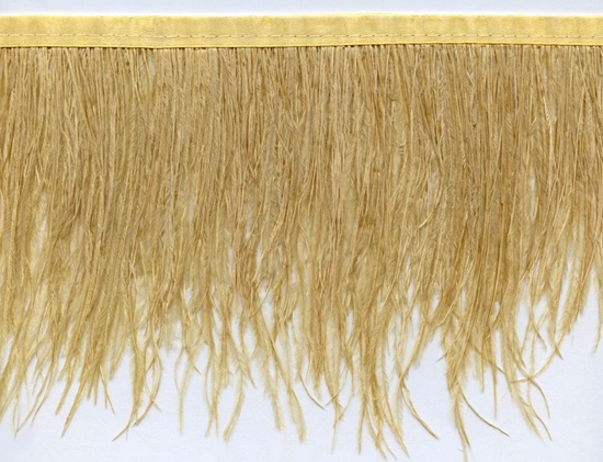 ostrich feather trim antique gold