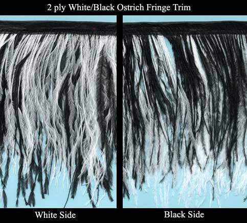 white & black ostrich feather trim fringe