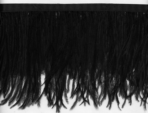 ostrich fringe trim black
