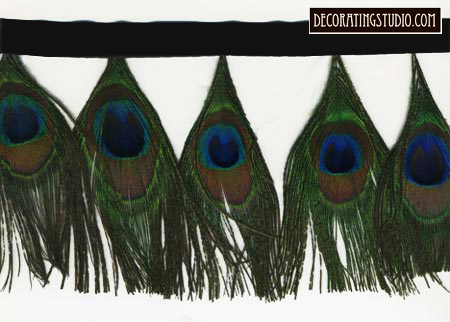 peacock eyes feather fringe trim