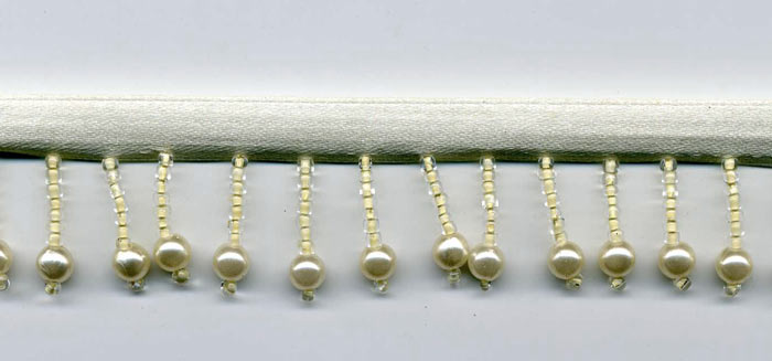ivory pearl beaded fringe trim