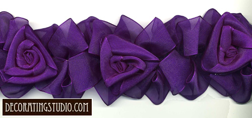 purple organza flower trim