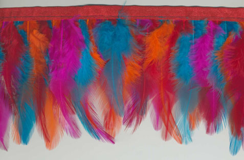 rainbow vivid feather trim