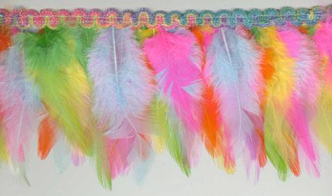 Rainbow Pastel Feather Fringe Trim