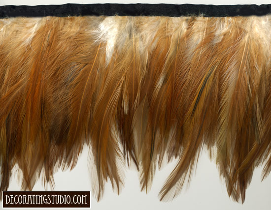 soft russet feather fringe trim
