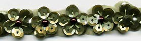 sequin flower trim in olive green