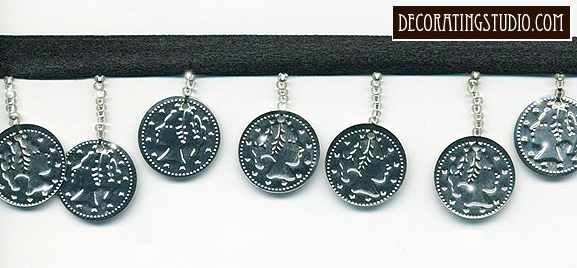 Silver Coin Trim on Black Ribbon
