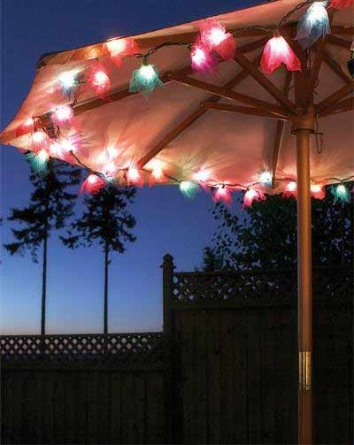 String Lights On Umbrella : Bodhi Leaves Flower String Lights in Multi Colors