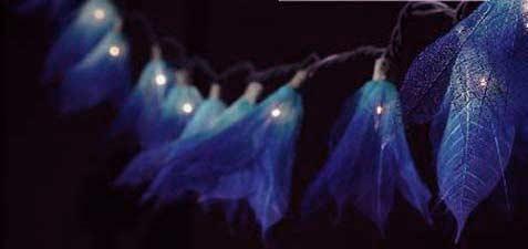 """""""Indigo Blue"""" Bodhi Leaf Flower String Lights - 9' length - Product Image"""